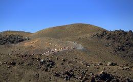 Путь к вулканическому кратеру, остров Nea Kameni, Gree Стоковые Изображения RF