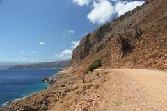 Путь к красивому заливу Balos в Крите Стоковое фото RF