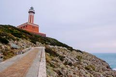 Путь к маяку Punta Carena, Капри Стоковое Изображение