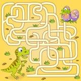 Путь находки динозавра помощи для того чтобы гнездиться лабиринт Игра лабиринта для малышей Стоковые Изображения RF
