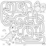 Путь находки динозавра помощи для того чтобы гнездиться лабиринт Игра лабиринта для малышей Черно-белая иллюстрация вектора для к иллюстрация штока