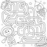 Путь находки космонавта помощи, который нужно выпустить ракету лабиринт Игра лабиринта для малышей Черно-белая иллюстрация вектор иллюстрация вектора