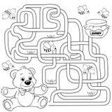 Путь находки медведя помощи к меду лабиринт Игра лабиринта для малышей Черно-белая иллюстрация вектора для книжка-раскраски Стоковая Фотография RF
