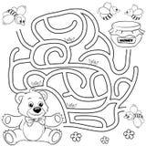 Путь находки медведя помощи к меду лабиринт Игра лабиринта для малышей Черно-белая иллюстрация вектора для книжка-раскраски Стоковые Фото