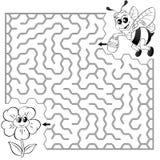 Путь находки пчелы помощи, который нужно зацвести лабиринт Игра лабиринта для малышей Черно-белая иллюстрация вектора для книжка- бесплатная иллюстрация