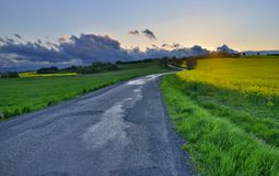 Путь на заходе солнца Стоковая Фотография
