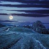 Путь на луге горного склона в горе на ноче Стоковые Изображения RF