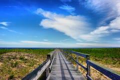 Путь над дюнами на пляже острова сливы Стоковые Изображения RF