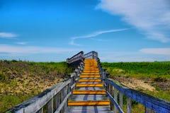 Путь над дюнами на пляже острова сливы Стоковая Фотография RF