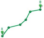 Путь от пункта a для того чтобы указать b Стоковое Фото