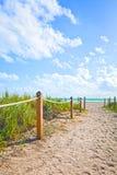 Путь песка идя к пляжу и океану в Miami Beach Флориде стоковые изображения rf