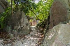 Путь пляжа в Сейшельских островах Стоковое Изображение