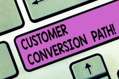 Путь преобразования клиента текста почерка Смысл концепции шагает что потребитель пошел до конца над клавишей на клавиатуре вебса стоковые фотографии rf