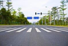 Путь прогулки движения зебры подписывает внутри Гуанчжоу Стоковая Фотография RF