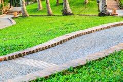 Путь прогулки в парке перед заходом солнца стоковые фотографии rf