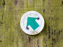 Путь прогулки в стрелке знака направления пункта зеленого цвета леса Стоковые Изображения RF
