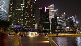 Путь прогулки залива Марины в центре Сингапура 28-ого октября 2014 видеоматериал