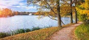 Путь прудом в Tsarskoe Selo Стоковое Изображение