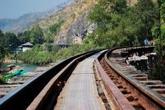 Путь рельса на деревянной структуре Стоковое фото RF