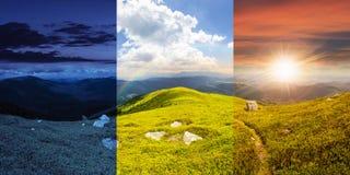 Путь среди камней на верхней части горы Стоковая Фотография RF