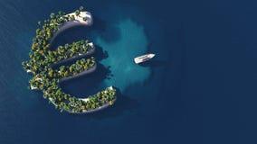 Путь успеха Тропический остров в форме евро иллюстрация вектора