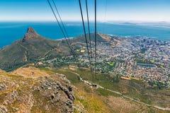 Путь фуникулера и город взгляда Кейптауна стоковая фотография rf