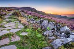 Путь холмов Simonside на заходе солнца Стоковое Фото