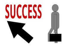 Путь ` s персоны к успеху с поднимающей вверх стрелкой Стоковые Изображения