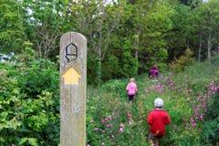 Путь Waymarked и молодая семья идя через цветки, Strete, Девон, Великобритания стоковые фотографии rf