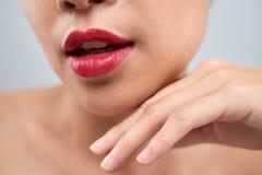 Пухлые розовые красивые губы стоковые изображения rf