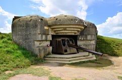 Пушечная батарея Второй Мировой Войны, Нормандия, Франция Стоковая Фотография RF