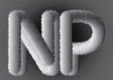 Пушистое flur Красивые серые письма NP На серой предпосылке градиента иллюстрация вектора
