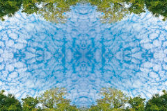 Пушистые облака и сочное зеленое небо дерева листвы и голубых на текстуре предпосылки природы рамки Стоковая Фотография
