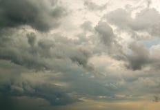 Пушистые дождевые облако против неба заполненного облаком Стоковые Фото
