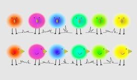 Пушистые яркие птицы Стоковое Изображение