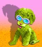 пушистый щенок зеленого цвета очарования иллюстрация штока