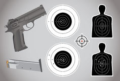 Пушка, боеприпасы и цели Стоковое Изображение