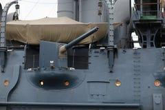 пушка крейсера смычка рассвета 152mm Стоковое фото RF