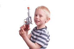 пушка ребенка камеры мальчика указывая детеныши оружия Стоковая Фотография RF
