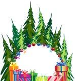 Пуща и подарки на рождество сосенки Стоковые Изображения RF