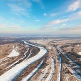 Пуща простого и малого реки в зиме стоковые фото