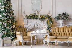 пуща рождества knurled зима снежных тропок утра широкая классические квартиры с белым камином, украшенной елью, софой, большими о Стоковая Фотография RF