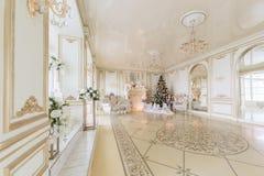 пуща рождества knurled зима снежных тропок утра широкая роскошные классические квартиры с белым камином Стоковые Изображения