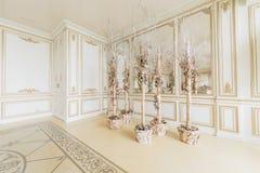 пуща рождества knurled зима снежных тропок утра широкая роскошные классические квартиры с белым камином Стоковое Фото