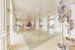 пуща рождества knurled зима снежных тропок утра широкая роскошные классические квартиры с белым камином Стоковое Изображение RF