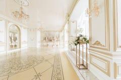 пуща рождества knurled зима снежных тропок утра широкая роскошные классические квартиры с белым камином Стоковое фото RF