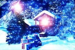 Пуща 3D Кристмас Snowy представляет 1 Стоковая Фотография