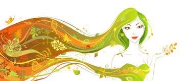 пущи падения дня осени женщина красивейшей гуляя Стоковые Фото
