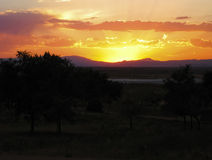Пуэбло озера в Колорадо на заходе солнца Стоковая Фотография