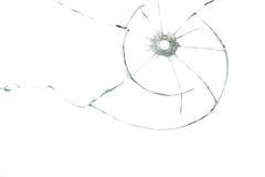 Пулевое отверстие в стекле Стоковая Фотография